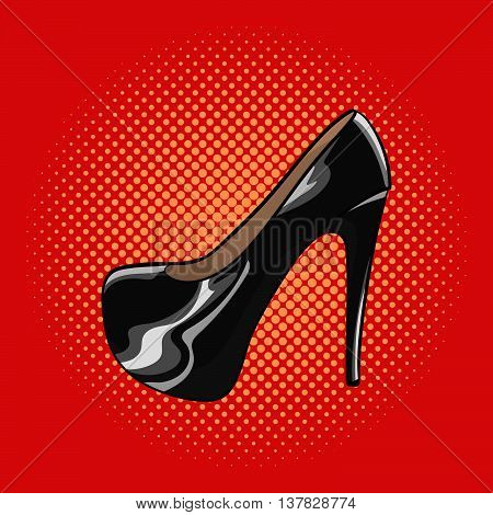 Vector hand drawn pop art illustration of an elegant woman shoes. High heels pump lacquered shoes. Retro style. Hand drawn sign. Illustration for print web.