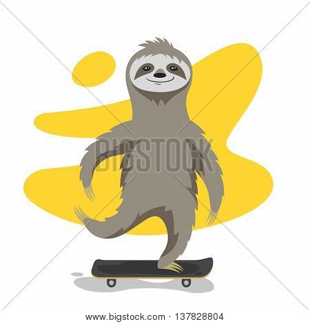 Vector illustration of happy cute sloth on skateboard. Sloth riding skateboard. Vector print for t-shirt or poster design.