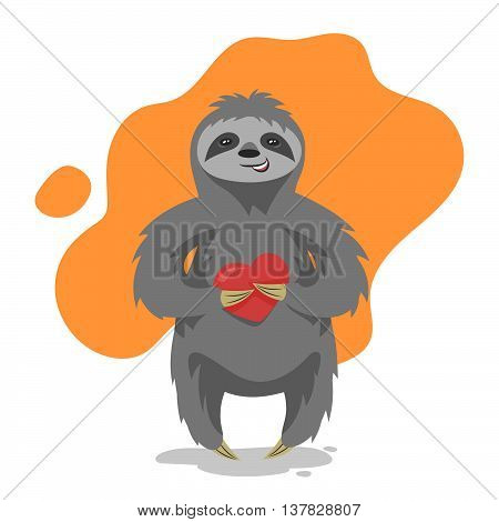 Vector illustration of loving happy cute sloth with heart in his hand. Vector print for t-shirt or poster design.