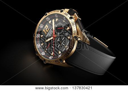 Golden Luxury Wristwatch With Black Clock Face On Black Background 3D