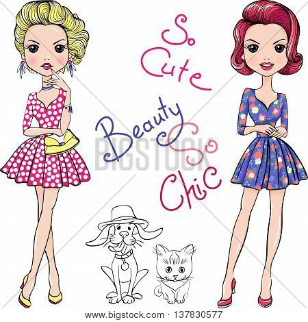 Cute beautiful Pop Art girls in dresses with dog and cat.