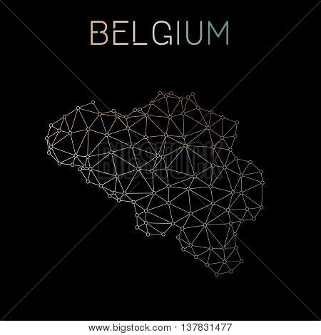 Belgium Network Map. Abstract Polygonal Map Design. Network Connections Vector Illustration.