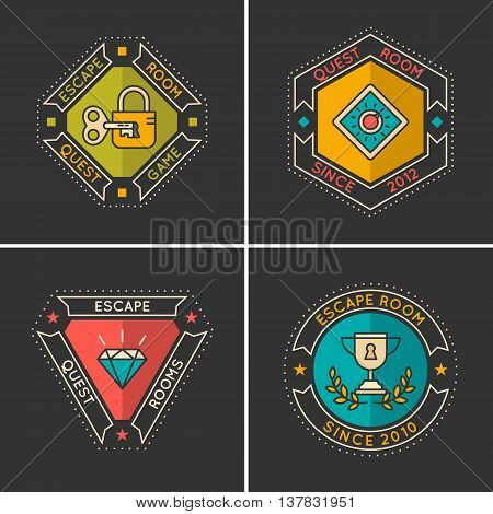 Vector linear icons and logo for the quest and room escape.