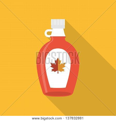 Maple syrup bottle icon, flat design with long shadow