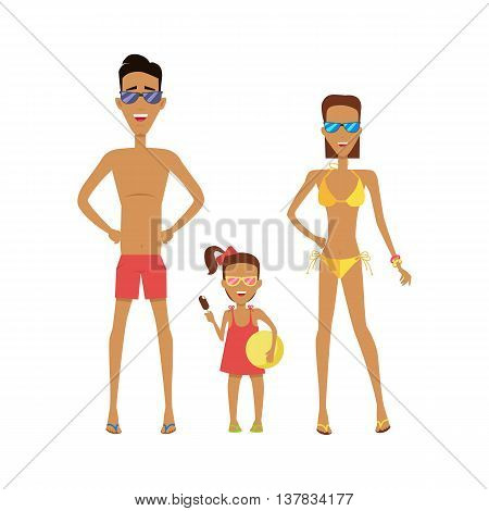Family in their swimming attire on a white background. Father mother and daughter with sunglasses which holds the ice cream and ball. Vector illustration