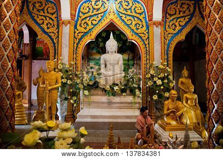 Phuket, Thailand - December 21 : many gold Bud inside the temple Wat Chalong built in 1809-1824 on the Day of St. Lucia, December 21, 2012.