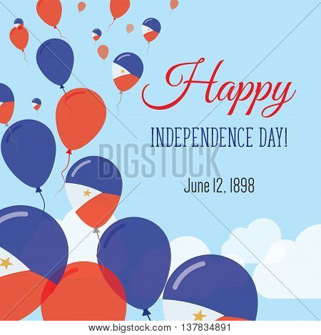 Independence Day Flat Greeting Card. Philippines Independence Day. Filipino Flag Balloons Patriotic