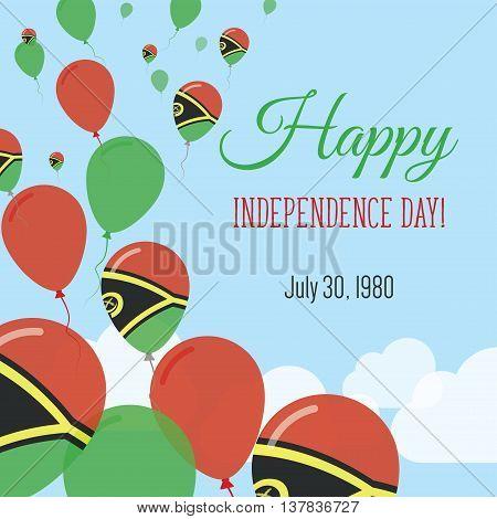 Independence Day Flat Greeting Card. Vanuatu Independence Day. Ni-vanuatu Flag Balloons Patriotic Po