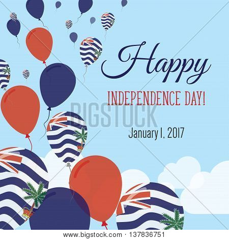 Independence Day Flat Greeting Card. British Indian Ocean Territory Independence Day. Indian Flag Ba