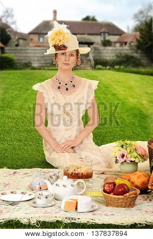 portrait of vintage Edwardian woman at picnic