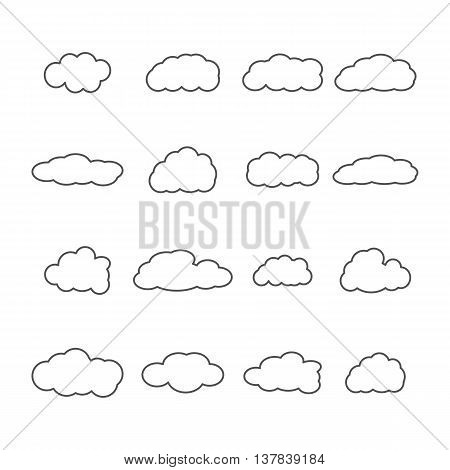Set of sixteen icons clouds contour different form of thin lines vector illustration.
