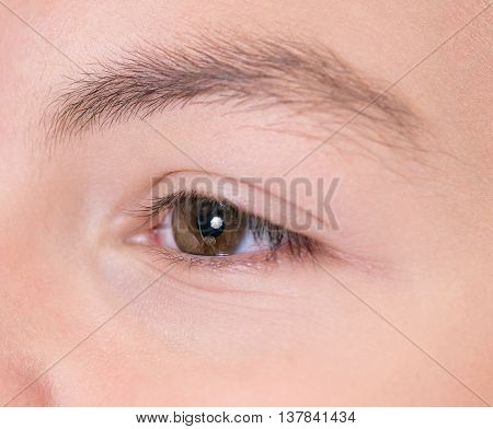 Close-up of boy with brown eyes looking somewhere
