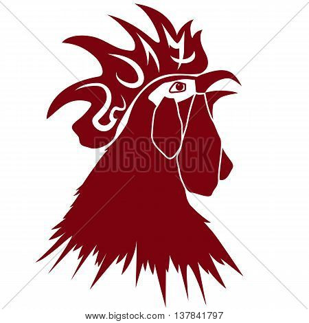 vector New Year 2017 illustration with head of rooster in red color
