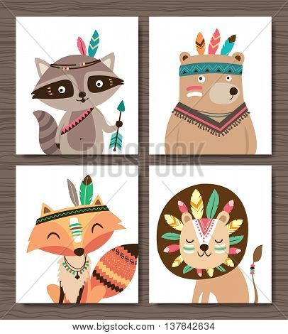 Set of cartoon woodland animals. Raccoon, bear, fox and lion.