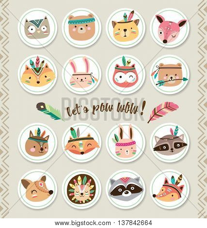 Set of cartoon sticker with woodland animals