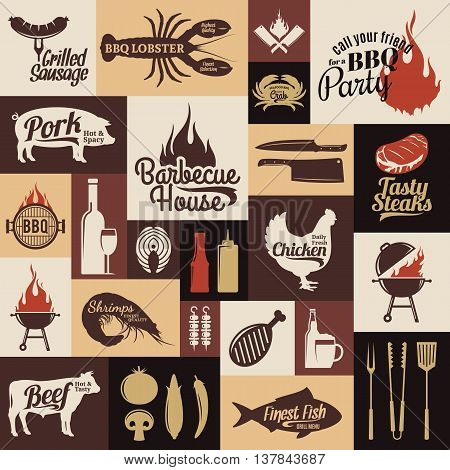 Barbecue meat vegetables beer wine and bbq equipment icons for cafe bar and restaurant menu brandign and identity.