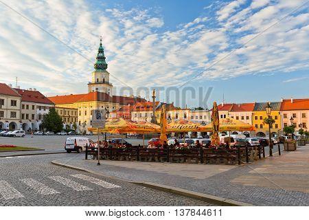 KROMERIZ, CZECH REPUBLIC - JUNE 21, 2016: Main square in Kromeriz city on June 21, 2016.