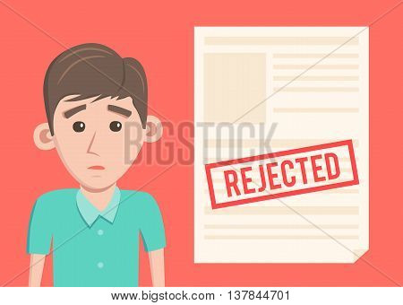 Rejected paper document. Cartoon Vector illustration. Sad man