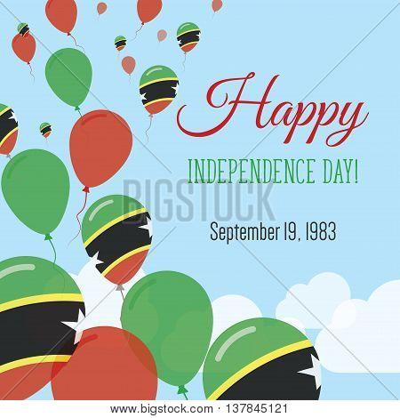 Independence Day Flat Greeting Card. Saint Kitts And Nevis Independence Day. Kittian And Nevisian Fl