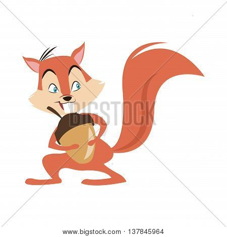 chipmunk nut cartoon icon isolated vector illustration