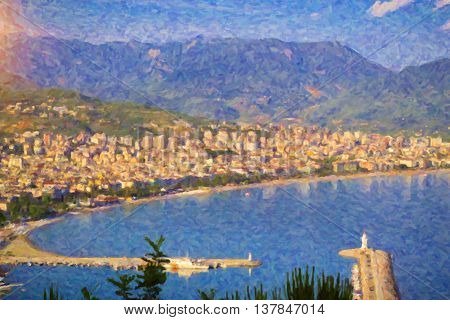Turkey. Alanya's city and port with the lighthouse Alanya