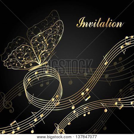 Musical design elements with treble clef, notes and butterfly in black and white style. Vector Illustration isolated on white background.
