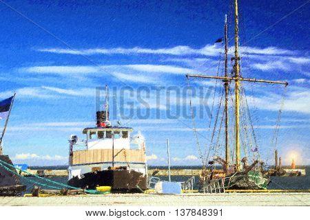 Tallinn Estonia. Marina with boats near submarine Museum in Tallinn Lennusadam - Seaplane Harbour. Photo stylized illustration