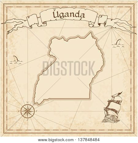 Uganda Old Treasure Map. Sepia Engraved Template Of Pirate Map. Stylized Pirate Map On Vintage Paper