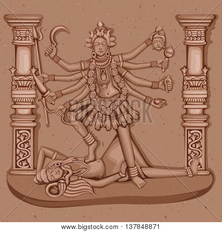 Vector design of Vintage statue of Indian Goddess Kali sculpture engraved on stone