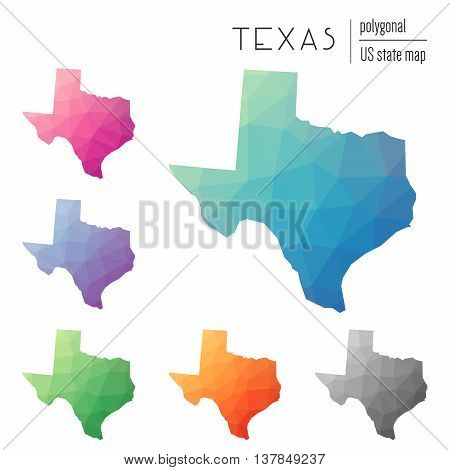 Set Of Vector Polygonal Texas Maps. Bright Gradient Map Of The Us State In Low Poly Style. Multicolo