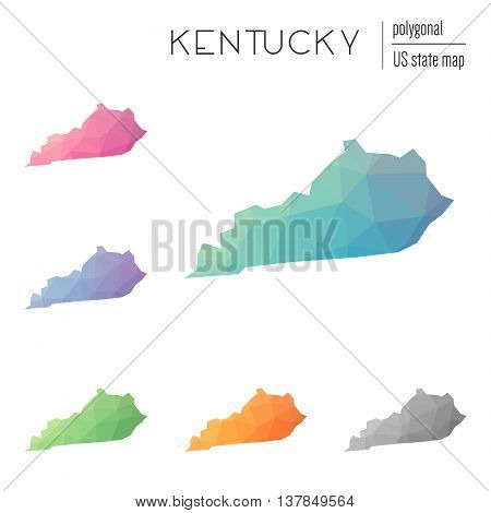 Set Of Vector Polygonal Kentucky Maps. Bright Gradient Map Of The Us State In Low Poly Style. Multic