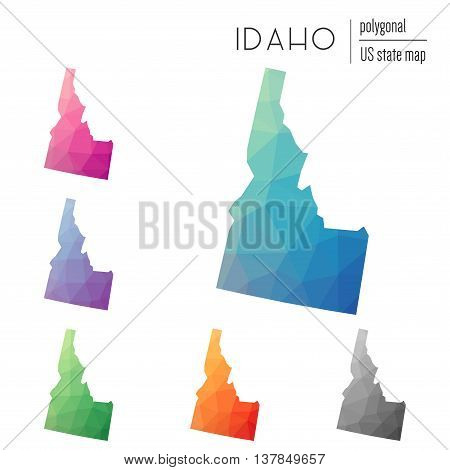 Set Of Vector Polygonal Idaho Maps. Bright Gradient Map Of The Us State In Low Poly Style. Multicolo