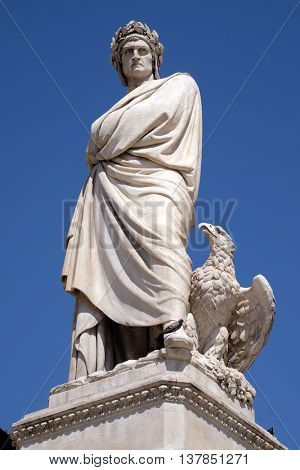 FLORENCE, ITALY - JUNE 05: Dante Alighieri statue in Santa Croce square in Florence, Italy, on June 05, 2015
