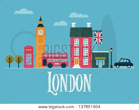 Flat stylish vector illustration for London England. Travel and tourism concept