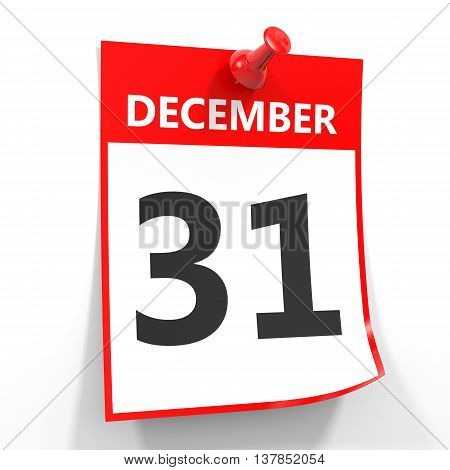 31 December Calendar Sheet With Red Pin.
