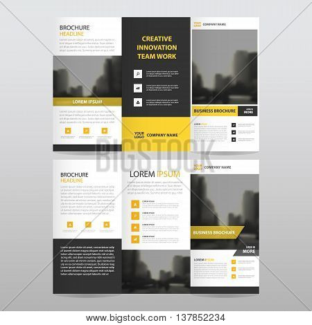 Yellow black triangle business trifold Leaflet Brochure Flyer report template vector minimal flat design set abstract three fold presentation layout templates a4 size