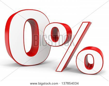 Discount 0 percent off. 3D illustration on white background.
