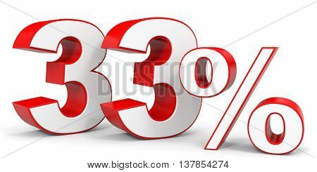 Discount 33 percent off. 3D illustration on white background.