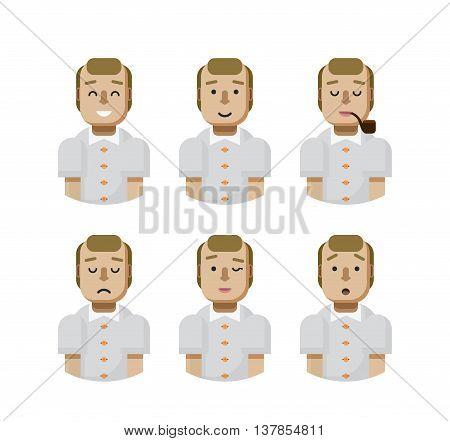 Stock vector illustration set male avatars, avatar with wide smile, male avatar with slight smile, avatar with pipe in mouth, upset, avatar winks, avatars surprised, Emoji, avatar balding flat-style