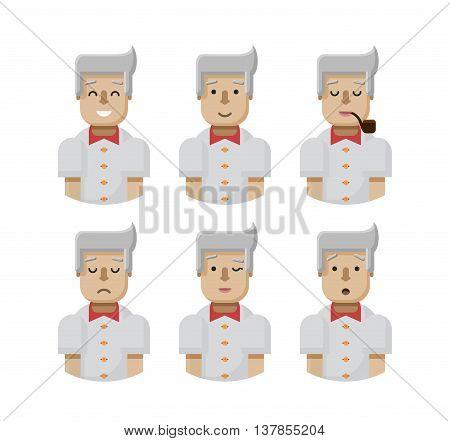 Stock vector illustration set male avatars, avatar with wide smile, male avatar with slight smile, avatar with pipe in mouth, upset, avatar winks, avatars surprised, Emoji, avatar blond man flat-style