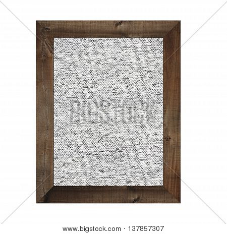 Old wooden frame isolated and have gray fabric background on white backdrop.