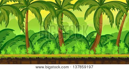 Jungles Landscape For UI Game Illustration of a cartoon seamless summer tropical Jungles background with palm and sea.1024x512