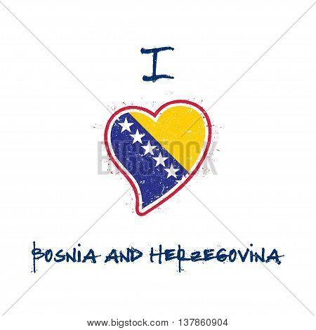 Bosnian, Herzegovinian Flag Patriotic T-shirt Design. Heart Shaped National Flag Bosnia And Herzegov