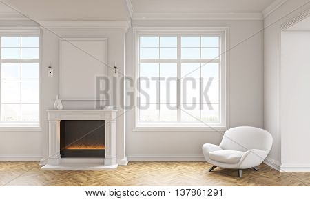 Front view of classic living room interior with wooden floor white armchair windows with city view and a blank picture frame above fireplace. Mock up 3D Rendering