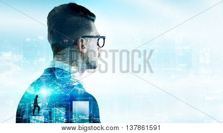 Financial growth concept with businessman thinking about profit on night Singapore city background with business chart and copy space. Double exposure