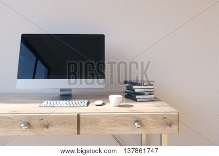 Workplace With Computer Monitor