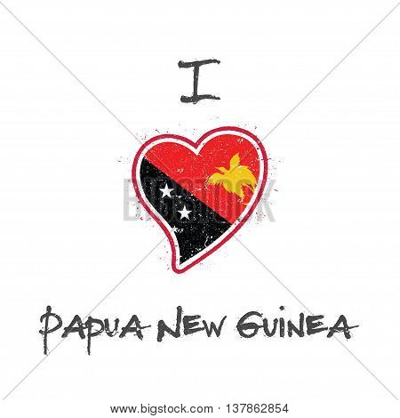Papua New Guinean Flag Patriotic T-shirt Design. Heart Shaped National Flag Papua New Guinea On Whit