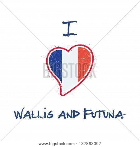 Wallis And Futuna Islander Flag Patriotic T-shirt Design. Heart Shaped National Flag Wallis And Futu