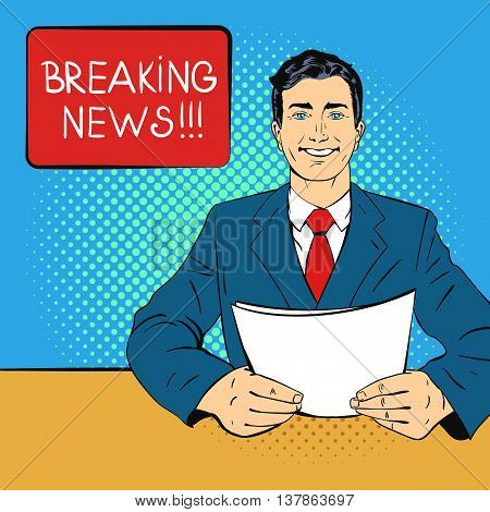 Vector hand drawn pop art illustration of anchorman holding piece of paper in his hands. Concept of breaking news. Retro style. Hand drawn sign. Illustration for print web.