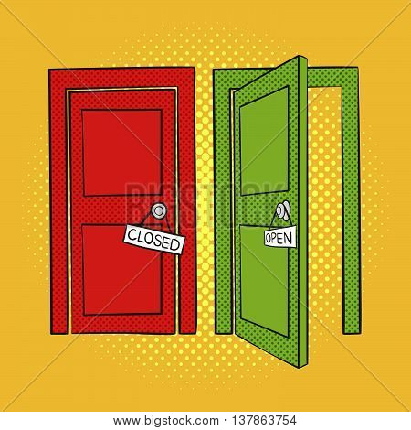 Vector hand drawn pop art illustration of doors. Open and closed door. Retro style. Hand drawn sign. Illustration for print web.